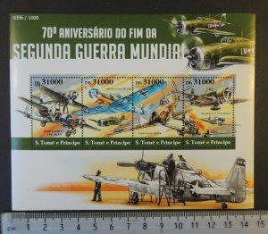 St Thomas 2015 ww2 wwii militaria aviation spitfire mustang m/sheet mnh