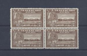 India (Travancore), 44a, Bridge Block(4),**MNH**