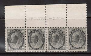 Canada #74 VF/NH Plate #1 Strip Of Four