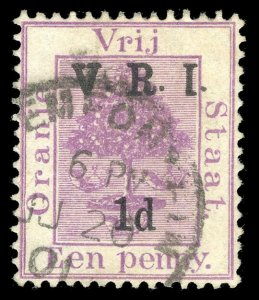 Orange Free State 1900 QV 1d on 1d purple (inverted 1 for I) VFU. SG 124a.