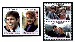 St Lucia 839-40 MNH 1986 Royal Wedding (KA)