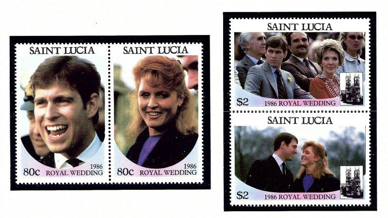 St Lucia 839-40 MNH 1986 Royal Wedding (KA)