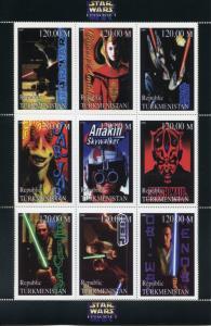 Turkmenistan 1999 MNH Star Wars Phantom Menace Anakin Skywalker 9v M/S Stamps