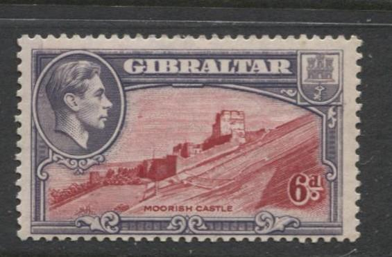 Gibraltar - Scott 113 - KGVI Pictorials -1938- MVLH - Single 6d Stamp