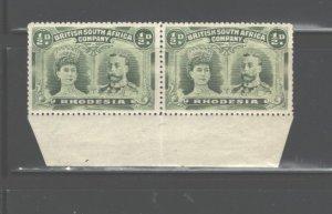 RHODESIA 1910 QUEEN MARY & KING GEORGE; PAIR #101, MNH / GUM DISTURBED; Perf.14