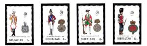 Gibraltar 299-302 MNH 1973 Military Uniforms