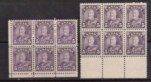 Canada #169 #169a VF/NH Blocks Of Six