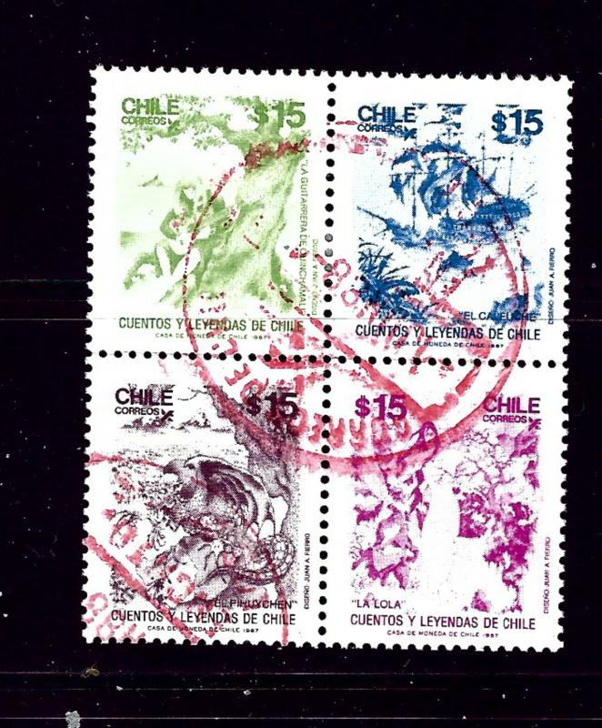Chile 812 Used 1989 Block of 4