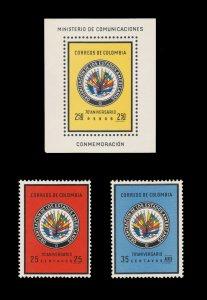 COLOMBIA 1962. STAMP SET. SCOTT # 743 - 44. UNUSED