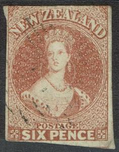 NEW ZEALAND 1857 QV CHALON 6D IMPERF NO WMK USED