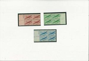 US Stamps/Postage  3 PBN/4 C28,29 and 30  MNH F-VF OG Twin Motor Tranports