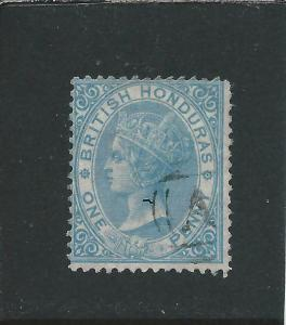 BRITISH HONDURAS 1865 1d PALE BLUE FU SG 1 CAT £65