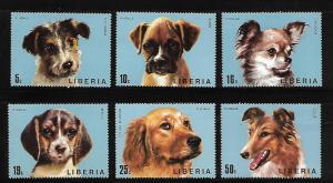 LIBERIA 669-674 MNH C/SET DOGS