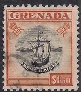 Grenada 1953 - 59 QE2 $1.50 Black & Brown Orange used SG 203 ( E484 )
