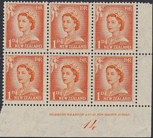NEW ZEALAND 1955 1d large figures plate block # 14 mint.....................1607