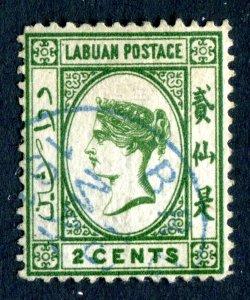 Labuan 1880 QV. 2c yellow green. Used. SG5.