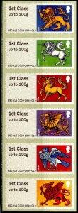 GB 2015 Post & Go Heraldic Beasts M/S Self-Adhesive Mint NH