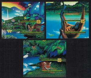 Jaguar Orang-utan Ocelot Rainforest 3 MSs SG#MS772+MSG350+MSV266