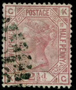 SG141, 2½d rosy mauve PLATE 10, USED. Cat £75. KG