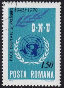 Romania - 1970 - Scott #2205 - used - UN Emblem