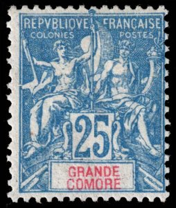 Grand Comoro - Scott 11 - Mint-Hinged - Poor Centering - Ink Stamp on Back