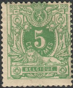 Belgium 1884 5c Green MH