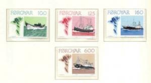 Faroe Islands Sc  24-7 1977 Fishing Boats stamp set mint NH