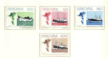 Faroe Islands Sc  24-7 1977 Fishing Boats stamp set mint NH