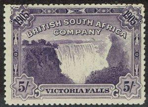 RHODESIA 1905 VICTORIA FALLS 5/- PERF 14