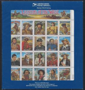 Catalog # 2870 Legends of the West Error Sheet of 29 cent Stamps