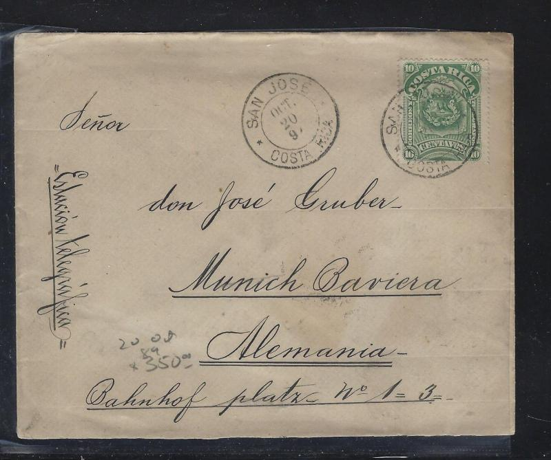COSTA RICA  (PP2404B) 1892 10C COVER SAN JOSE TO GERMANY