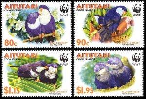Aitutaki MNH 533-6 Tahitian Blue Lorikeet Birds WWF 2002