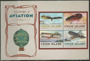 UNION ISLAND HISTORY OF AVIATION   SHEET  MINT NH