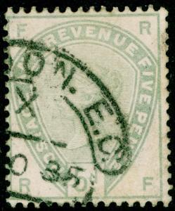 SG193, 5d dull green, USED. Cat £200. RF