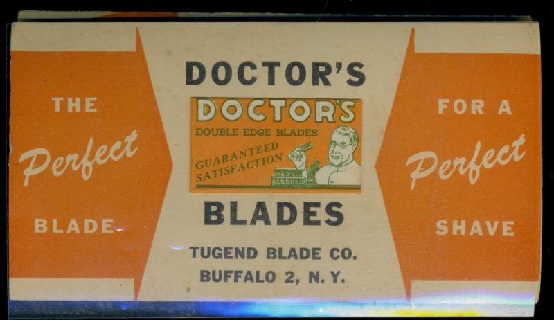 EArly 1900'S Doctors Double edge blade sample on mailing card