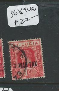 ST LUCIA  (P2606B) WAR TAX SG 89      VFU