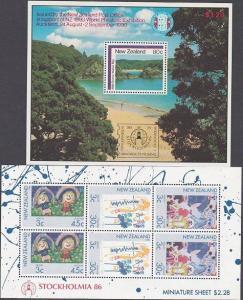 NEW ZEALAND 1986 STOCKHOLMIA pair optd mini sheets MNH ACS cat NZ$200......87680