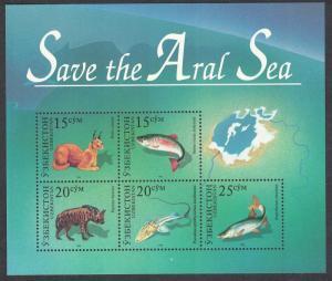 Uzbekistan Animals Fish - Save the Aral Sea MS SG#MS116
