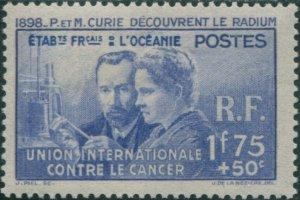 French Oceania 1938 SG127 1f.75+50c blue Anti-cancer Fund MLH