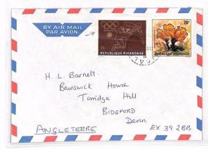 RWANDA Kigali *HOSPITAL* Airmail Cover OLYMPICS ISSUE Usage Devon 1970s XX42