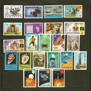 Dominica Collection of 22 Different 1970's Stamps Mint Hinged
