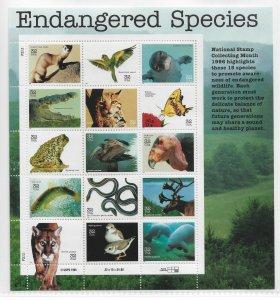 USA 1996 Sheet Wildlife Endangered Species,Scott #3105,VF MNH**
