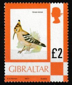 355 1977 Gibraltar £2 Hoopoe  Bird Stamp MNH