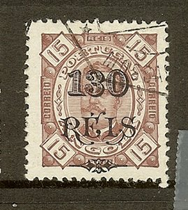 Angola, Scott #77, 130r on 15r King Carlos, Used