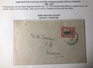1938 Kitale Kenya British KUT First Return Flight Airmail Cover To Nanyuki
