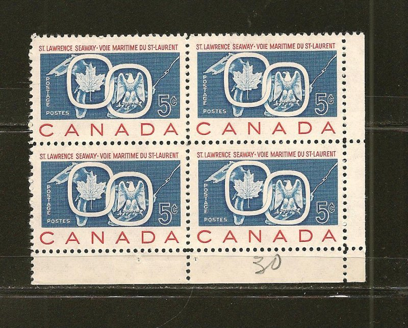 Canada 387 St Lawrence Seaway Lower Right Block of 4 MNH