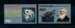 [102044] Djibouti 1987 Space travel weltraum satellite Telstar Morse  MNH