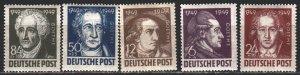 Germany. 1949. 234-38. Goethe, poet, Soviet occupation zone. MNH.