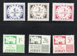 Jersey Sc J1-6 1969 1st Postage Due stamp set mint NH