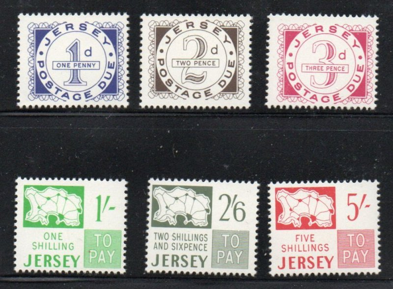 Jersey Sc J1-6 1969 1st Postage Due stamp set mint NH